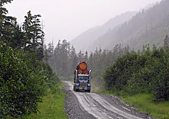 A large truck in Southeast Alaska driving down a road while loaded with logs.